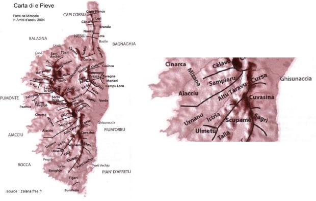 carte des pievi de Corse (Mizana)