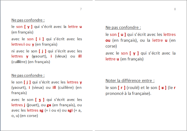 La langue corse : quelles lettres pour quels sons ? p. 4