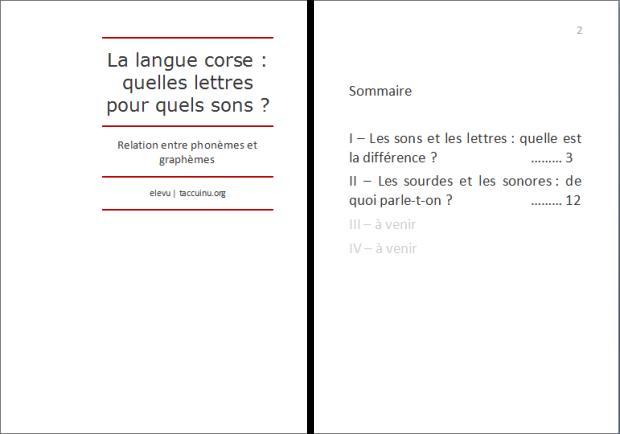 La langue corse : quelles lettres pour quels sons ? p.1
